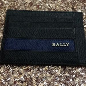 Bally Cardholder Wallet Black and Blue Leather